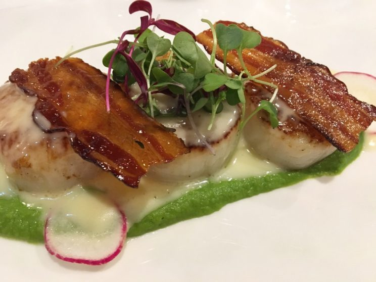 Seared Scallops with Bacon, Peas, and Beurre Blanc